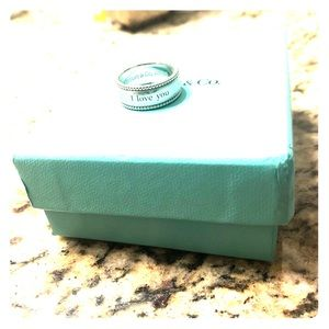 """Tiffany & co """"I love you"""" ring size 7"""